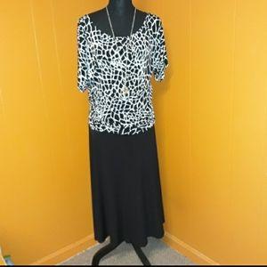 Enfocus Women black and white maxi dress sz 14W